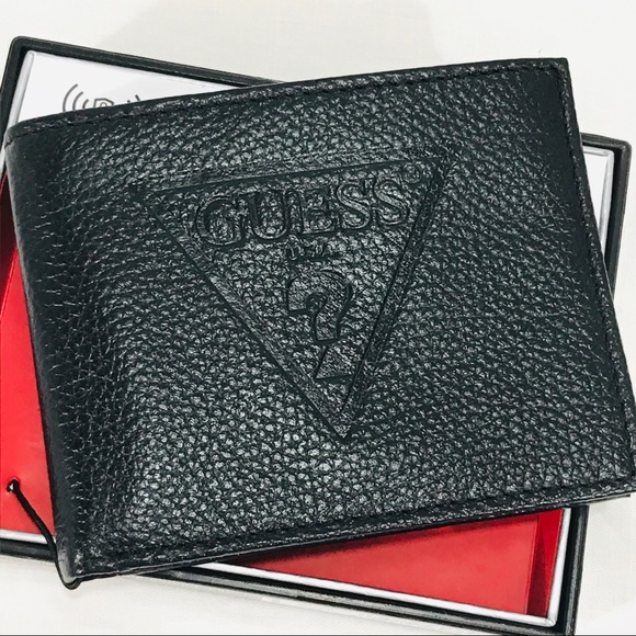 NWT Guess Black Leather Wallet & Valet RFID NWT